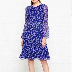 L. K. Bennett Silk Cecily Floral Print Blue Dress